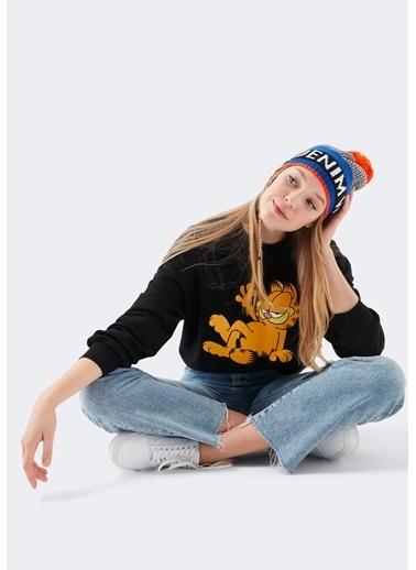 Mavi Garfield Baskılı  Sweatshirt Siyah